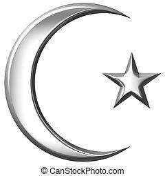 islamic, símbolo, 3d