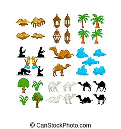 Islamic Set Design Graphic Template Vector
