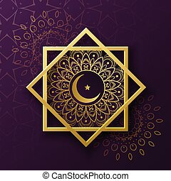 islamic symbol decoration with crescent moon for eid...