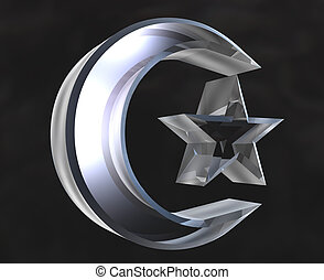 Islamic Symbol in glass - 3d