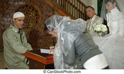 Islamic wedding ceremony in  mosque