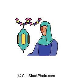 islamic woman with lantern hanging