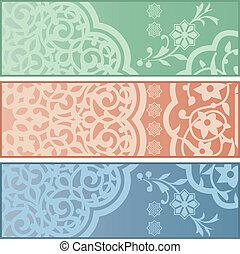 islamico, bandiere, ornamenti
