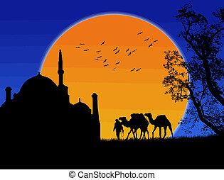 islamico, fondo, tramonto