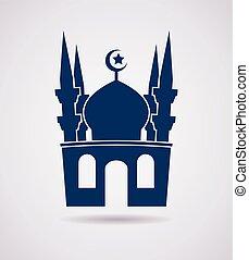 islamico, vettore, moschea, icona