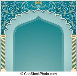 islamique, conception, eps10, voûte, format