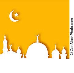 islamique, fond, ramadan, architecture, kareem