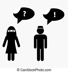 islamique, homme femme, pourparlers, à, parler, bulles, eps10