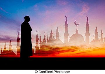 islamique, homme, prier, musulman, prière, dans, crépuscule, temps