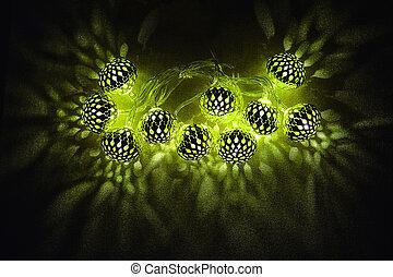 islamisch, feiertage, decoration., ramadan, kareem., glühen, grüne lichter