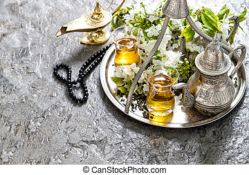 islamisch, feiertage, decoration., ramadan, kareem., tee, brille, und, topf