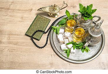 islamisch, feiertage, decoration., ramadan, kareem., tee, heiliges buch, quran, und, rosenkranz