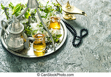 islamisch, feiertage, decoration., ramadan, kareem., tee, tafelgeschirr