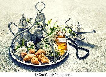 islamisch, feiertage, lebensmittel, mit, decoration., ramadan, kareem., weinlese, stil
