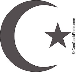islamisch, halbmond mond, ikone, vektor, einfache