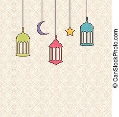 islamisch, hintergrund, mit, arabisches , hängelampen, für, ramadan, kareem