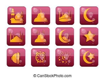islamitisch, set, pictogram