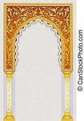 islamitisk, design, välva