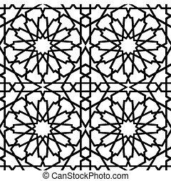 islamitisk, stjärna, tegelpanna, bw