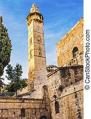 Islamnic Minaret Mosque of Omar Islamic Mosque Jerusalem...