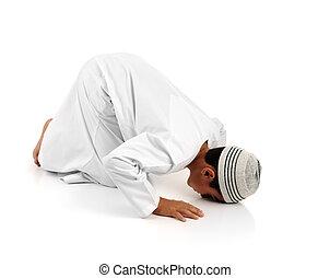 islamski, modlić się, objaśnienie, pełny, serie., arabszczyzna, dziecko, pokaz, zupełny, muslim, ruchy, znowu, modlący się, salat., dogadzać, szukać, inny, 15, fotografie, w, mój, portfolio.