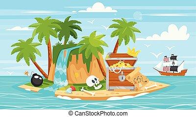 islan, pecho, barco, pirata, tesoro