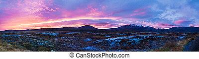 islandês, pôr do sol, cores