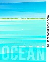 island., イラスト, ライト, eps10., 海洋, トロピカル, ベクトル, 簡単にされている, 背景