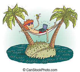 island., 世界的である, 満足させられた, イラスト, 捨てられる, ベクトル, ティーネージャー, 村, ...