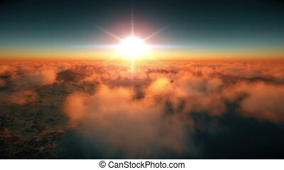 island above clouds sunset