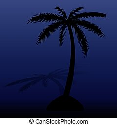 Island at night. Black silhouette of palm tree, with shadow of dark blue background,