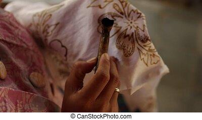 island., bali, détail, textile, cirer, batik., confection, ...