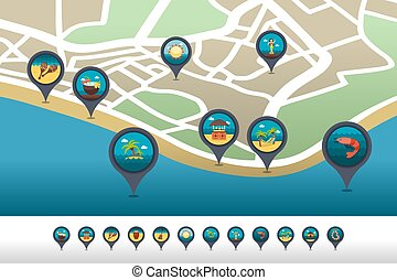 Island beach pin map icon located on the map