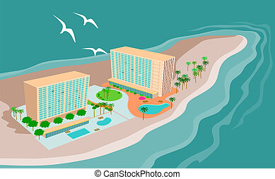 Illustration of an island beach resort done in retro style.