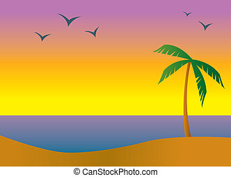 Island Beach Sundown - A beach in a tropical setting during...