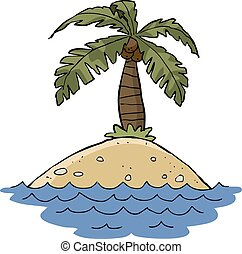 Island - Cartoon island with palm trees