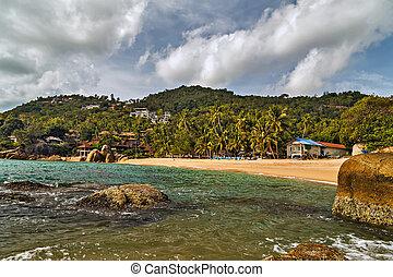island., coral, paraisos , enseada, tropicais, rocha, praia, paisagem