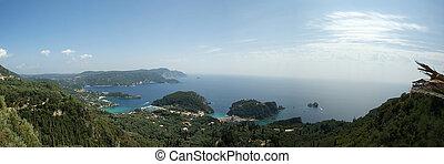 Island Corfu (Greece, Ionian sea), a kind on Paleokastritsu from Bell Vista's restaurant