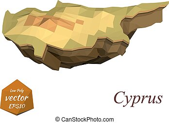 Island Cyprus in the low poly style