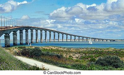 Island de Re, la Rochelle, France. the road bridge from the...