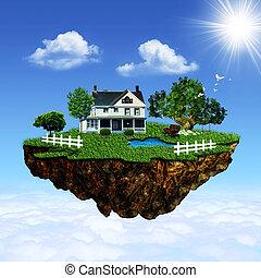 island., eco, 抽象的, 背景, 環境, デザイン, あなたの