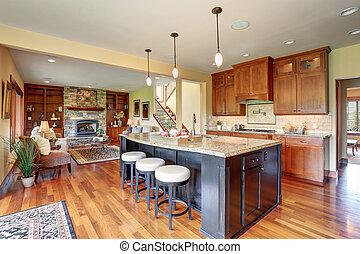 island., estilo, barzinhos, luxo, cozinha