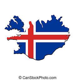 island flagg, karta
