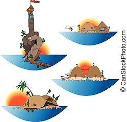 island funny vector set