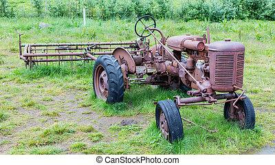 island, gammal, traktor