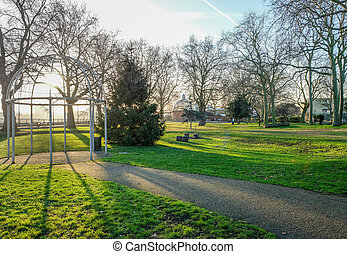 Island Gardens Park with the Greenwich foot tunnel.