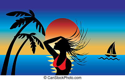 Island Girl - A silhouette of an Island girl swinging wet...