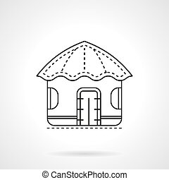 Island hut flat line vector icon