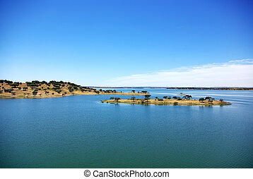 Island in blue Lake,south of Portugal.
