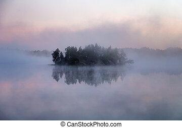 island in fog